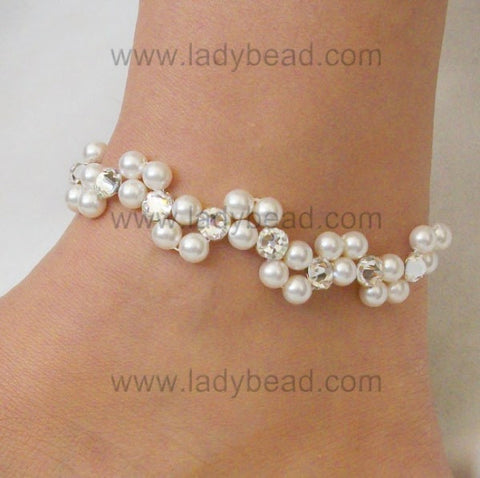 Wedding Anklet Pearl Rhinestone USA #A15 - Ladybead Beach Bride Jewelry and More!! USA