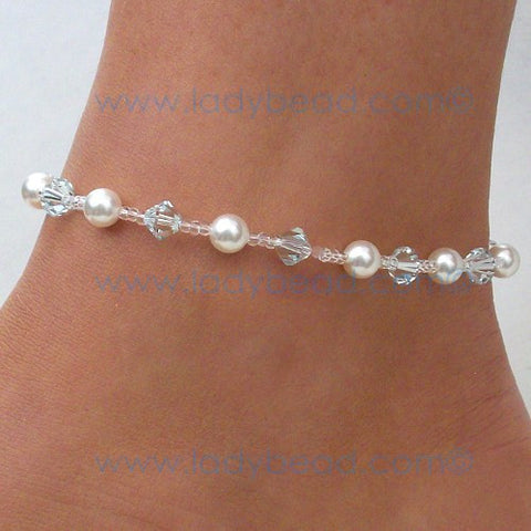 #A12 Lt Azure Crystal Anklet Hint of Blue Destination Anklet - Ladybead Beach Bride Jewelry and More!! USA