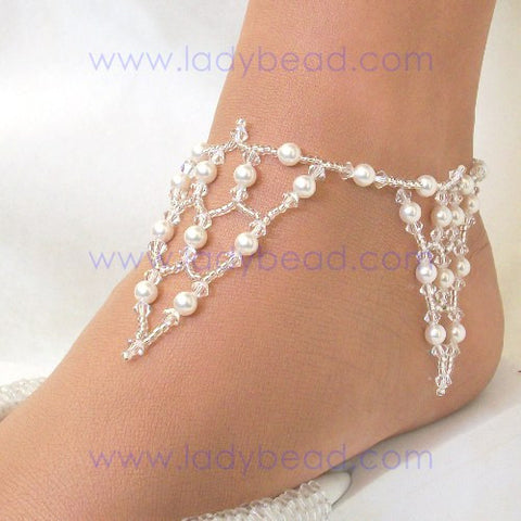 Wedding Anklet Pearl Crystal Swarovski #WA1 - Ladybead Beach Bride Jewelry and More!! USA