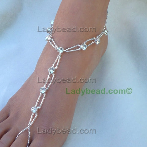 Silver Bling Rhinestones around the ankle #TL11 - Ladybead Beach Bride Jewelry and More!! USA - 2