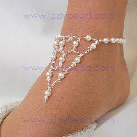 Pearl Bridal Wedding Anklet #WA4 - Ladybead Beach Bride Jewelry and More!! USA