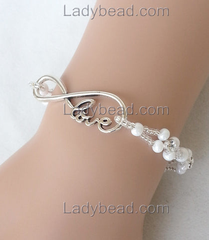 Infinity Love Bracelet White #B60 - Ladybead Beach Bride Jewelry and More!! USA - 1