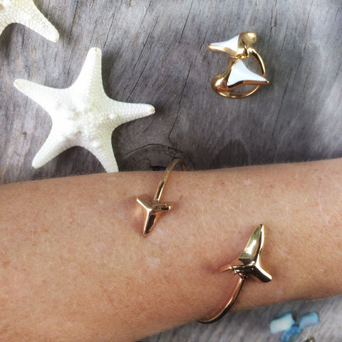 Gold Mama shark tooth cuff & ring (set)