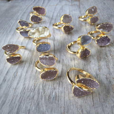 Gold Double Druzy Wrap Ring