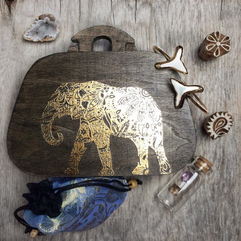 """Dream"" Gold Elephant Treasure Box"