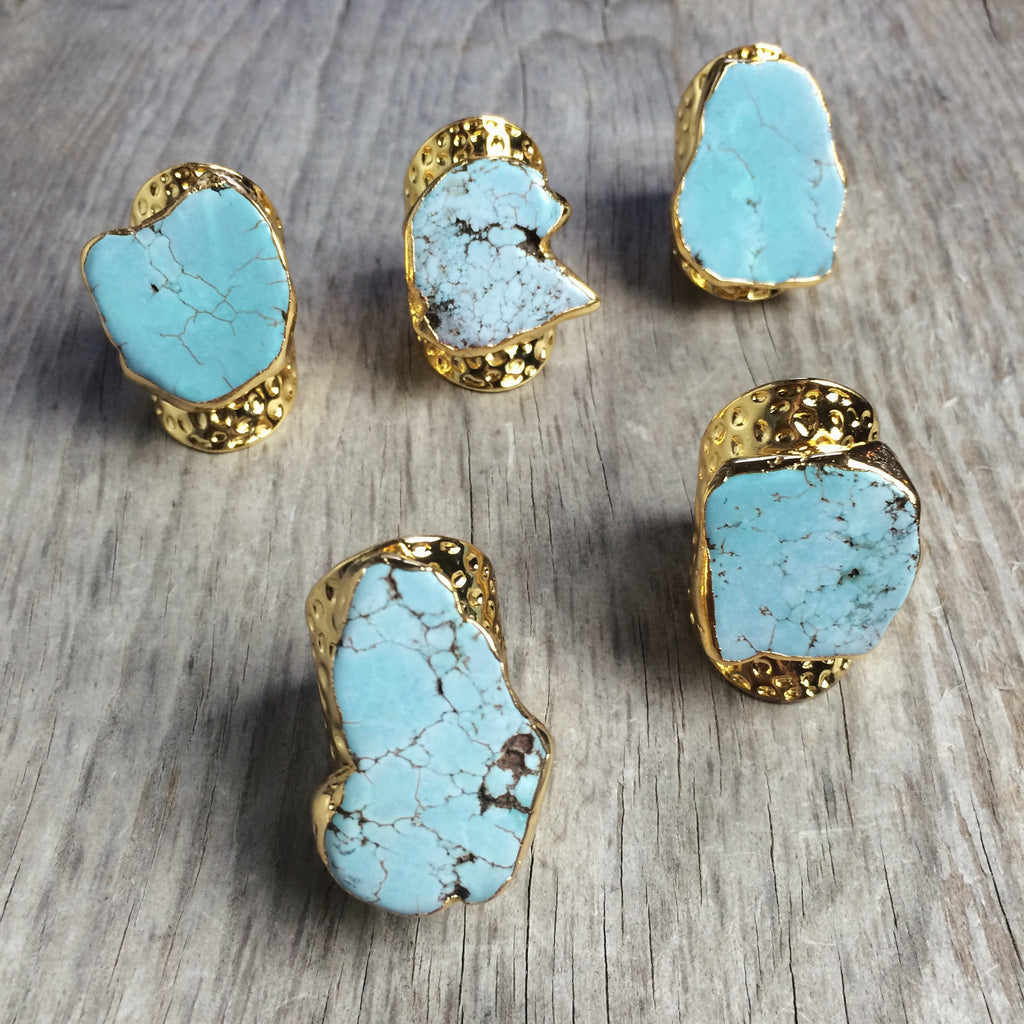 Chunky Turquoise Finger Cuff