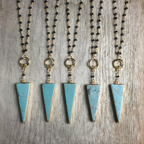 Turquoise Triangle & Black Agate Bead Necklace