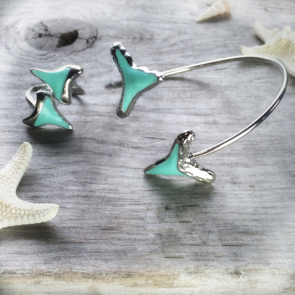 Tropical blue shark tooth bracelet & ring (set)