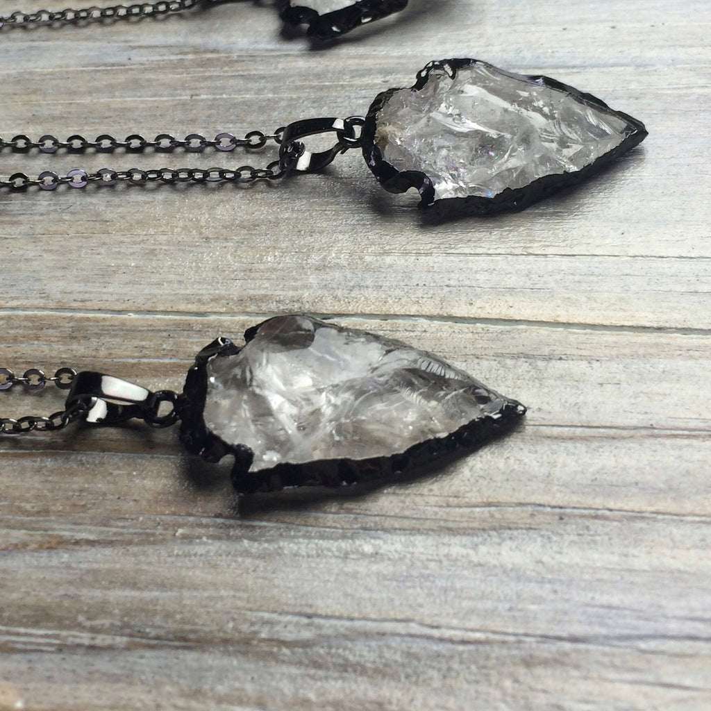 Gunmetal Black (Trimmed) Ice Quartz Arrowhead