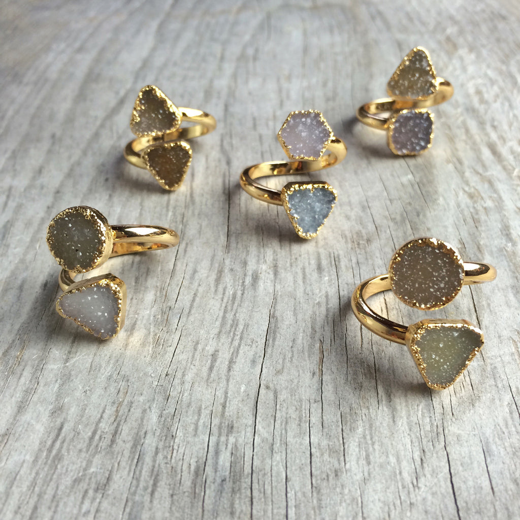 Delicate Double Druzy Ring