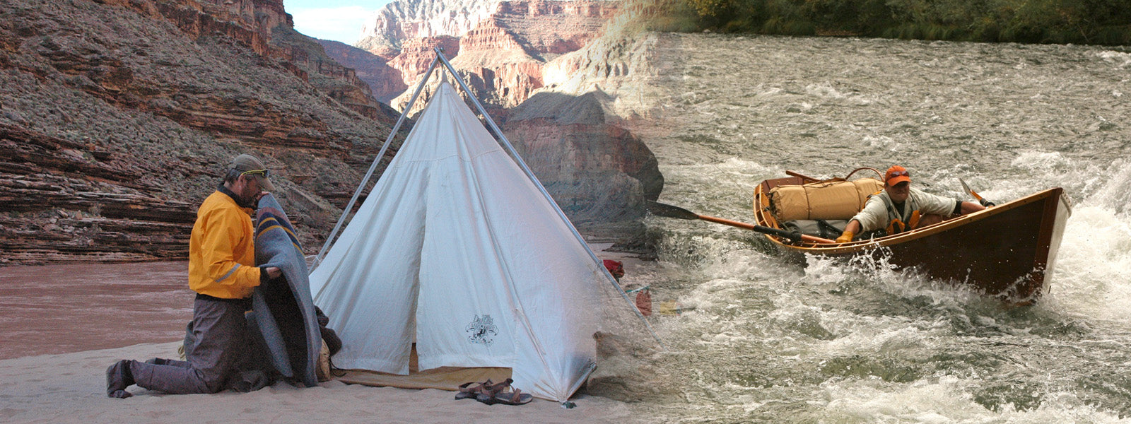 range tent and bedroll in the wild