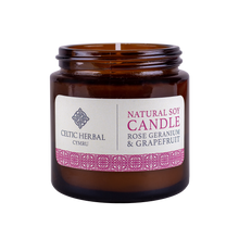 Load image into Gallery viewer, Celtic Herbal - Rose Geranium & Grapefruit Natural Soy Candle 100g