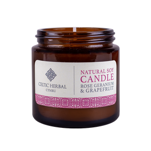 Celtic Herbal - Rose Geranium & Grapefruit Natural Soy Candle 100g