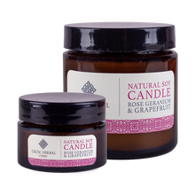 Load image into Gallery viewer, Celtic Herbal - Rose Geranium & Grapefruit Natural Soy Candles