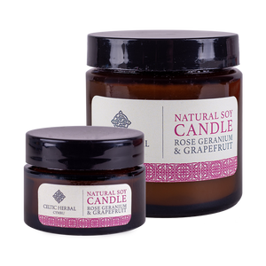 Celtic Herbal - Rose Geranium & Grapefruit Natural Soy Candles