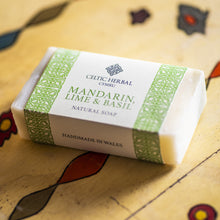 Load image into Gallery viewer, Mandarin, Lime & Basil Soap Celtic Herbal Natural Handmade Soap