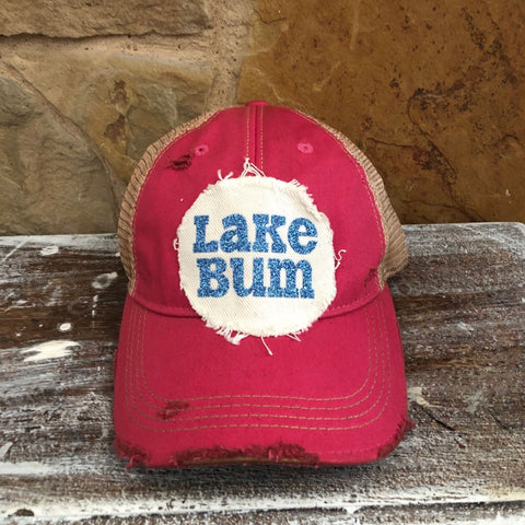 Lake Bum Hat, Lake Hat, Summer Hat, Baseball Hat, Women's Hat, Ball Cap, Distressed Hat, Weathered Hat