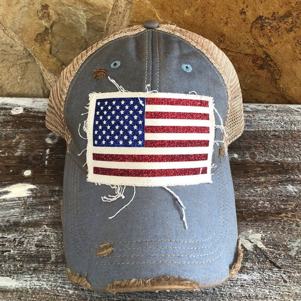 American Flag Glitter Hat, Women's Ball Cap, Distressed Hat, Weathered Hat