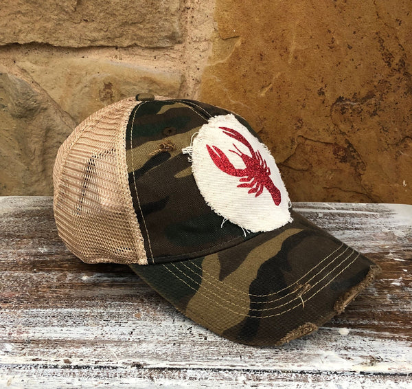 Crawfish Hat, Baseball Hat, Women's Hat, Ball Cap, Distressed Hat, Weathered Hat