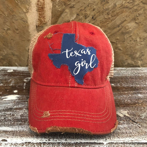 Texas Girl Hat, Baseball Hat, Women's Hat, Ball Cap, Distressed Hat, Weathered Hat