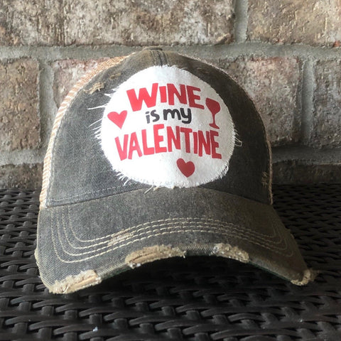 Wine is my Valentine Hat, Valentine's Day Hat