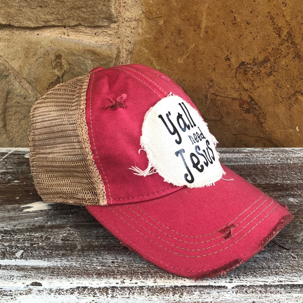 Y'all Need Jesus Hat, Unisex Hat, Unisex Cap, Baseball Hat, Men's Hat, Women's Hat, Ball Cap, Distressed Hat, Weathered Hat