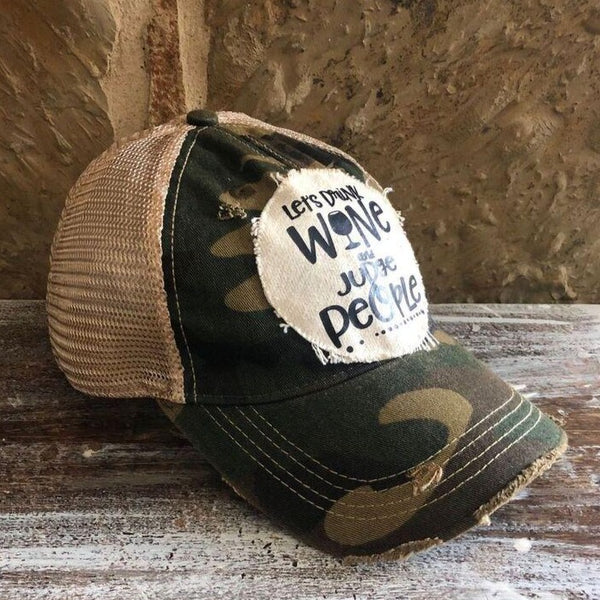 Let's Drink Wine and Judge People Hat, Unisex Hat, Unisex Cap, Baseball Hat, Women's Hat, Ball Cap, Distressed Hat, Weathered Hat