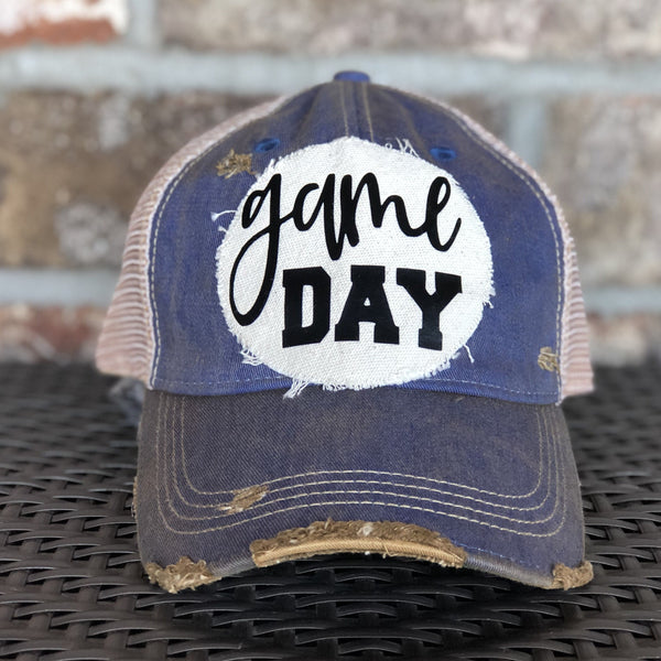 Game Day Hat, Game Hat, Sports Hat, Women's Baseball Cap, Women's Hat, Distressed Hat, Vintage Baseball Cap, Weathered Hat, Vintage Baseball