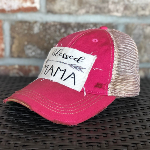Blessed Mama Hat, Baseball Hat, Women's Hat, Ball Cap, Distressed Hat, Weathered Hat