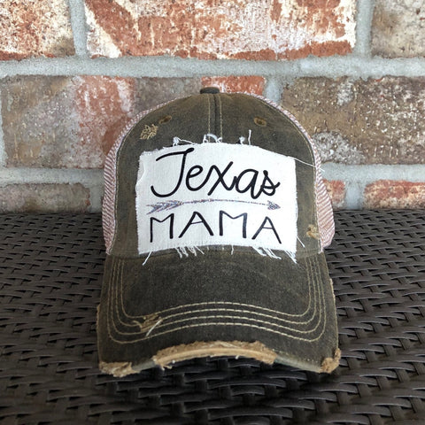 Texas Mama Hat, Texas Mom Hat, Ball Cap, Distressed Hat, Weathered Hat