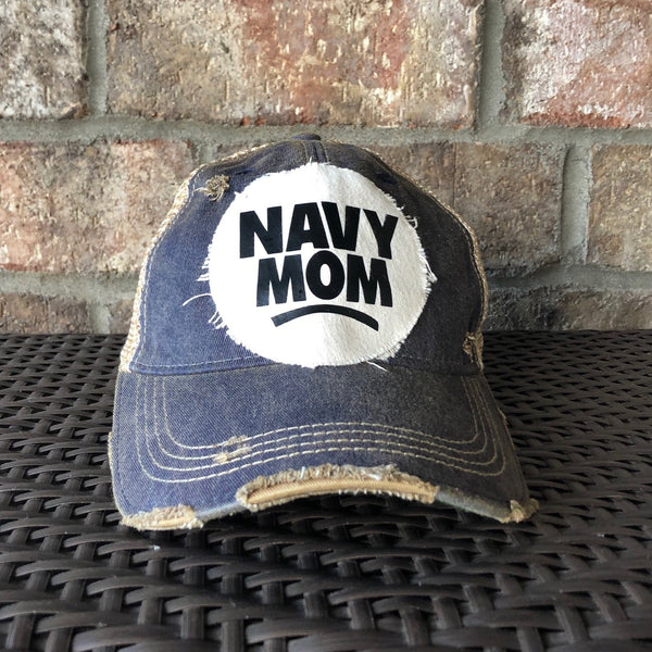 Navy Mom Hat, Navy Hat, Military Hat, Armed Forces Hat, Ball Cap, Distressed Hat, Weathered Hat