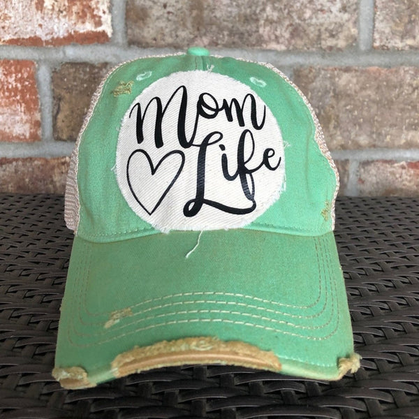 Mom Life Hat, Ball Cap, Distressed Hat, Weathered Hat