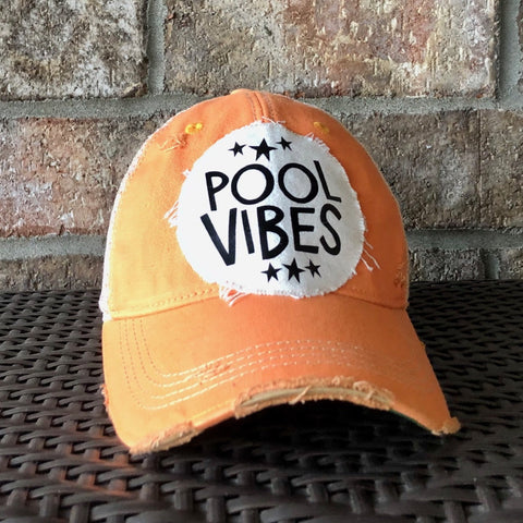 Pool Vibes, Ball Cap, Distressed Hat, Weathered Hat