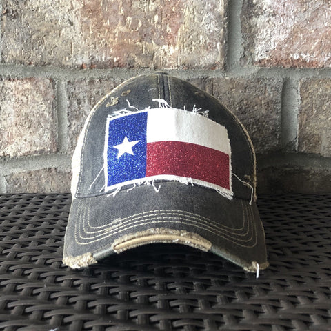 Texas Flag Hat, Glitter Texas Flag, Baseball Hat, Women's Hat, Ball Cap, Distressed Hat, Weathered Hat