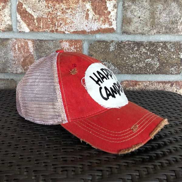 Happy Camper Hat, Happy Cap, Camping Hat, Ball Cap, Distressed Hat, Weathered Hat