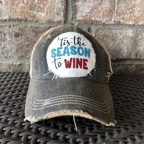 Tis the Season to Wine Hat, Christmas Hat, Holiday Cap, Winter Hat, Wine Hat