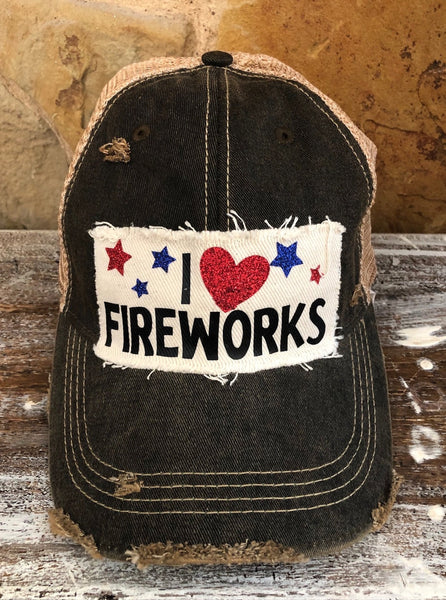 I love Fireworks Hat, 4th of July Ball Cap, Independence Day Hat