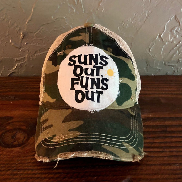 Sun's Out Fun's Out Hat, Weathered Hat, Summer Hat
