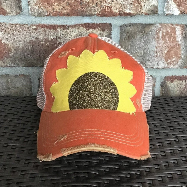 Sunflower Hat, Ball Cap, Distressed Hat, Weathered Hat