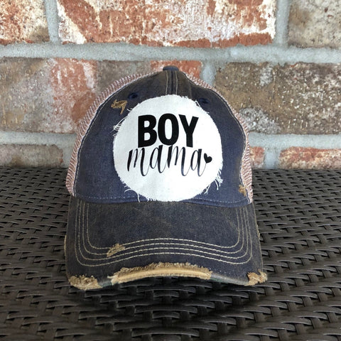 Boy Mama Hat, Mom Hat, Ball Cap, Distressed Hat, Weathered Hat