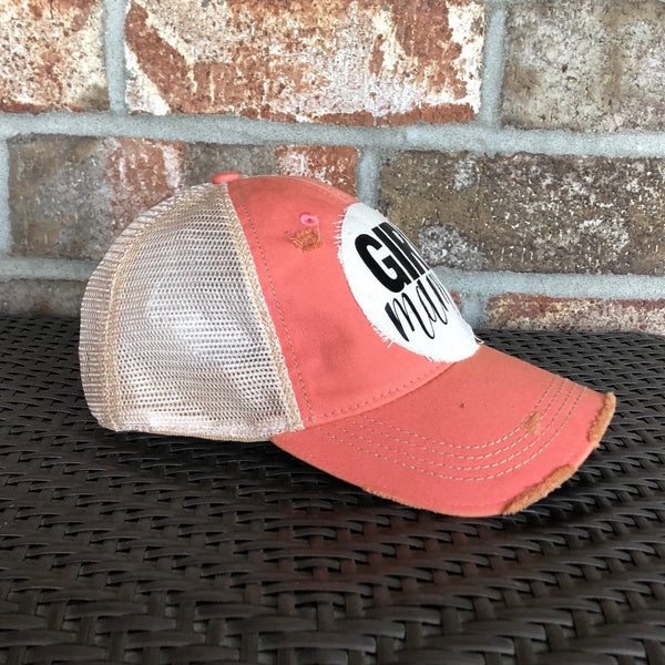 Girl Mama Hat, Girl Mom Hat, Ball Cap, Distressed Hat, Weathered Hat