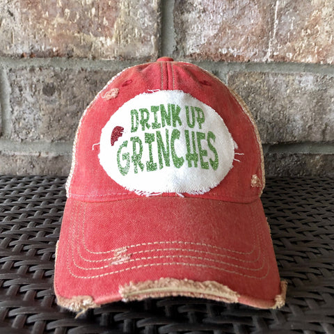 Drink Up Grinches Hat, Christmas Hat, Girlfriends Hat, Holiday Cap, Winter Hat, Women's Hat, Grinch Baseball Cap