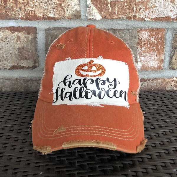 Happy Halloween Hat, Weathered Hat, Fall Hat