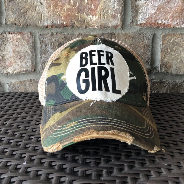 Beer Girl Hat, Women's Ball Cap, Distressed Hat, Weathered Hat