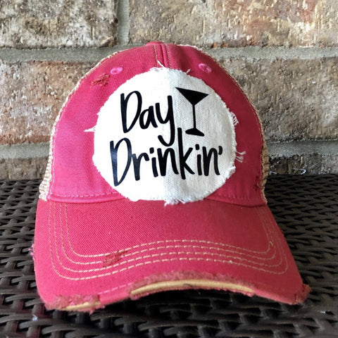 Day Drinkin Ball Cap, Distressed Hat, Weathered Hat