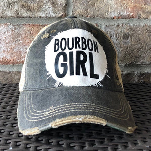 Bourbon Girl, Women's Ball Cap, Distressed Hat, Weathered Hat