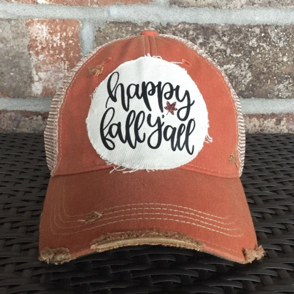 Happy Fall Y'all Hat, Weathered Hat, Fall Hat