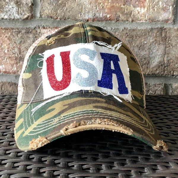 USA Hat, Women's Ball Cap, Distressed Hat, Weathered Hat
