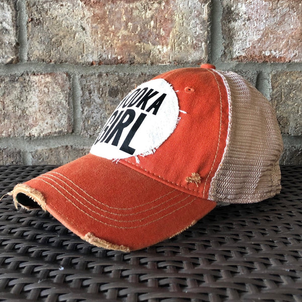 Vodka Girl Hat, Women's Ball Cap, Distressed Hat, Weathered Hat