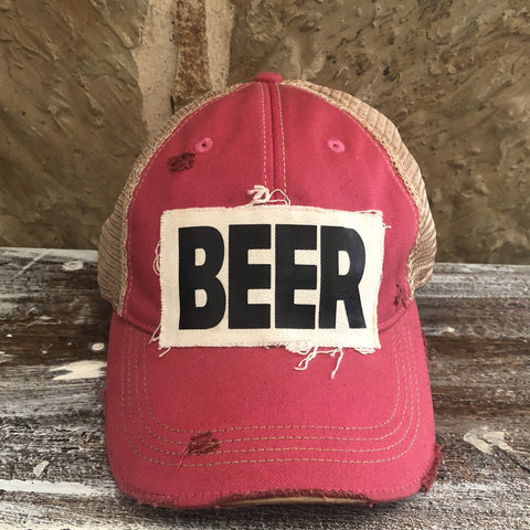 Beer Hat, Unisex Hat, Unisex Cap, Baseball Hat, Men's Hat, Women's Hat, Ball Cap, Distressed Hat, Weathered Hat